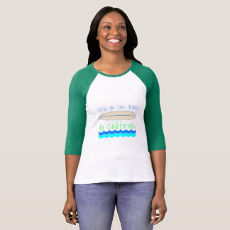 Girls on the Road to California Surfing Style Tee