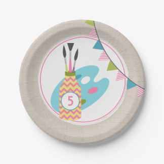 Girls Painting / Art Birthday Party Paper Plate