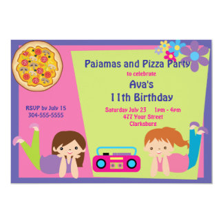 Girls Pajama & Pizza Party Card