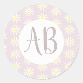 Girls Pastel Pink Daisy Flower Pattern Monogram Classic Round Sticker