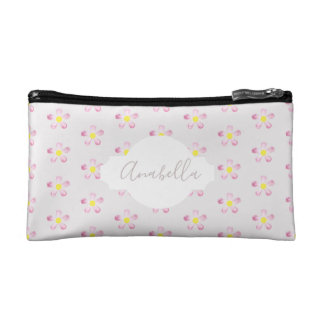 Girl's Pastel Pink Flower Pattern with Name Makeup Bag