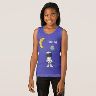 Girls Personalized Astronaut Tank Top