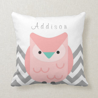 Girl's Personalized Chevron Grey and Pink Owl Throw Pillow