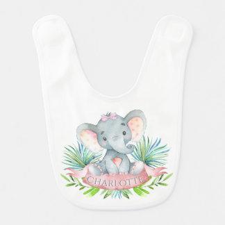 Girls Personalized Elephant Bib