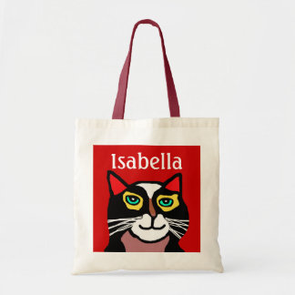 Girls Personalized Red & Black Cat Art Tote Bag