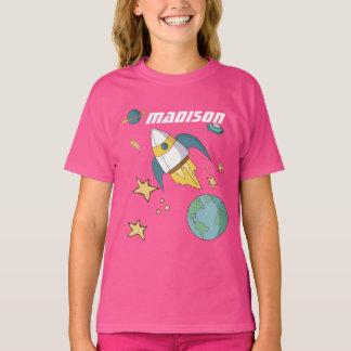Girls Personalized Rocket Ship Shirt