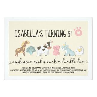 Girls Petting Zoo / Farm Barnyard Animals Theme Card