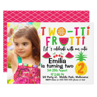 Girls Photo Two-tti Fruitt 2nd Birthday Invitation