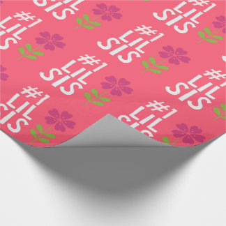 Girls Pink #1 Little Sister Flower Gift Wrapping Paper