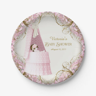 Girls Pink and Gold Bassinet Baby Shower 7 Inch Paper Plate