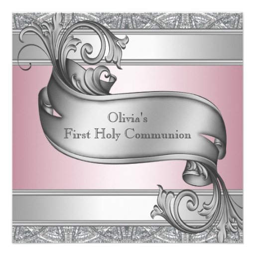 Girls Pink and Gray First Communion Custom Invites