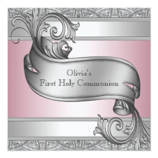 "Girls Pink and Gray First Communion 5.25"" Square Invitation Card"