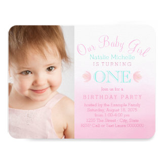 """Girls Pink and Teal Blue First Birthday Party 4.25"""" X 5.5"""" Invitation Card"""