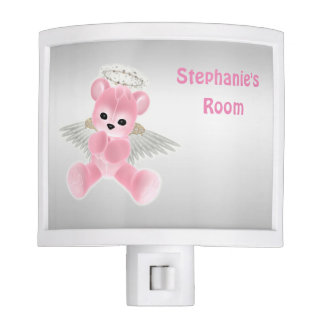 Girl's Pink Angel Teddy Bear Nite Lites