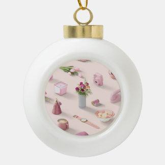 Girl's Pink Dream Ceramic Ball Ornament