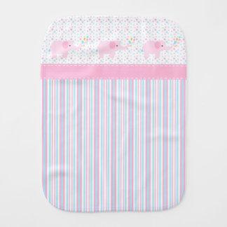 Girl's Pink Elephants Burp Cloth