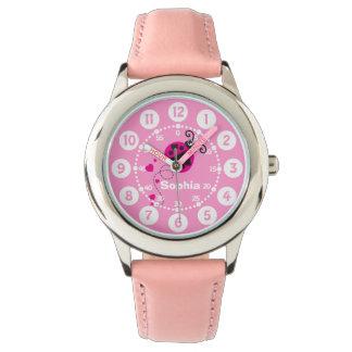 Girls pink ladybug heart white name wrist watch