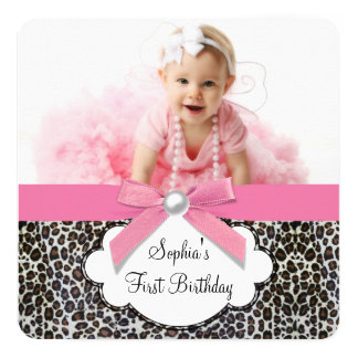 Girls Pink Leopard Birthday Party Card