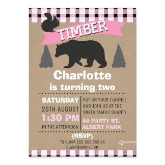 Girls Pink Lumberjack Birthday Invitation
