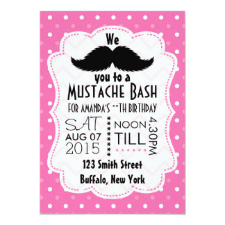 Girls Pink Moustache Party Card