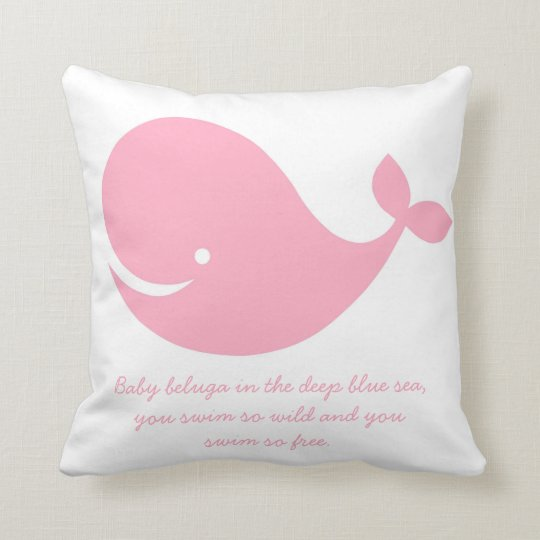 Girl's Pink Ocean Theme Whale Pillow
