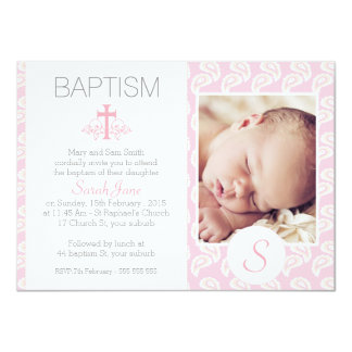 Girls Pink Paisley Photo Baptism Invitation