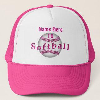 Girls Pink Personalized Softball Hats Custom