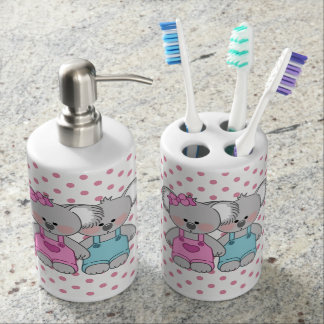 Girls Pink Polka Dot Koala Bear Bathroom Set