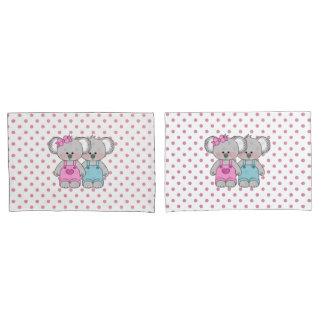 Girls Pink Polka Dot Koala Bear Pillow Case Set