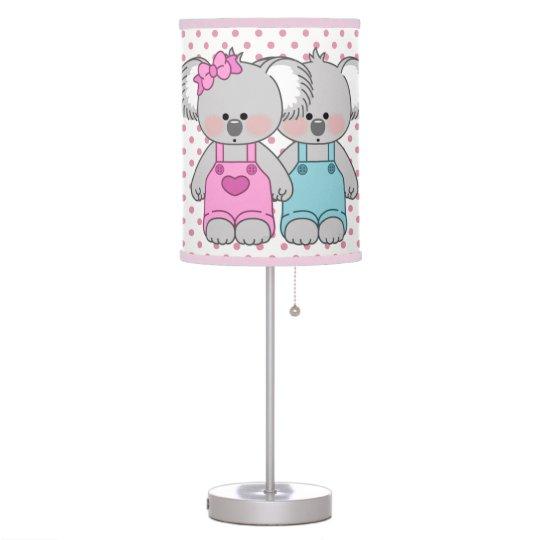 Girl's Pink Polka Dot & Koala Bears Desk Lamp