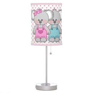 Girl's Pink Polka Dot & Koala Bears Table Lamp