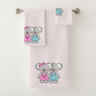 Girl's Pink Polka Dot Koala Bears Towel Set