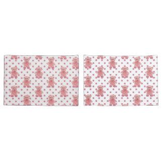 Girls Pink Polka Dot Teddy Bear Pillow Case Set Pillowcase