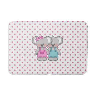 Girls Pink Polka Dot W/ Koala Bear Bath Mat