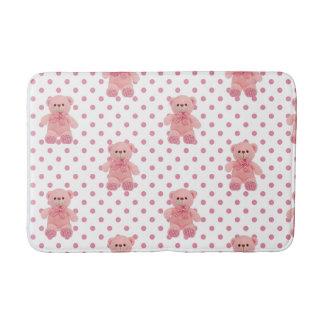 Girls Pink Polka Dot W/ Teddy Bear Bath Mat