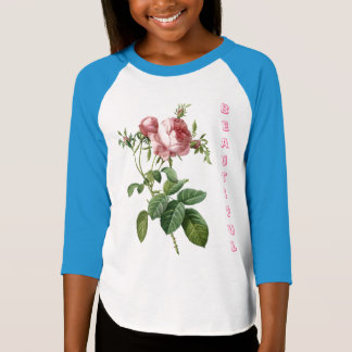 girls pink rose flowers, add your name blue, white T-Shirt