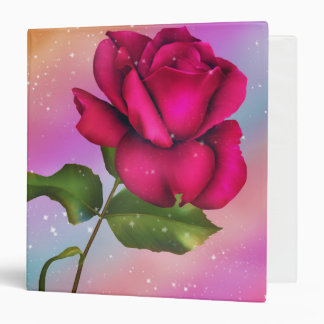 Girls Pink Sparkle Rose Rainbow Pastel & Glitter Vinyl Binders