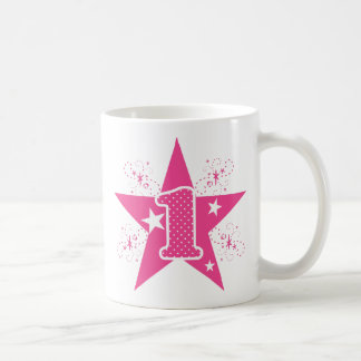 Girls Pink Star First Birthday Coffee Mugs