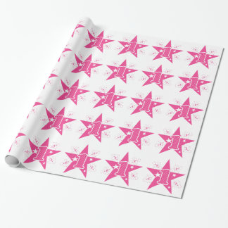 Girls Pink Star First Birthday Wrapping Paper