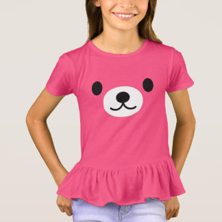 Girl's Pink Teddy Bear Ruffles T-shirt