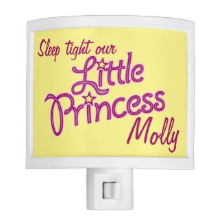 Girls pink yellow little princess name night light
