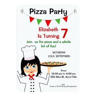 Girls Pizza Party Birthday Invitation