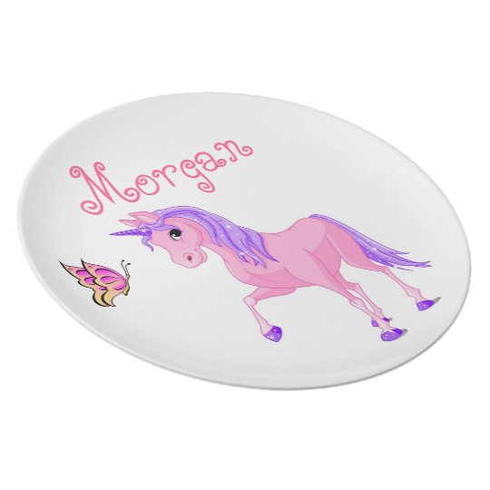 Girls plate, butterfly, unicorn plate