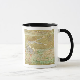 Girls Playing Tennis, from 'Woodcuts in Line and C Mug