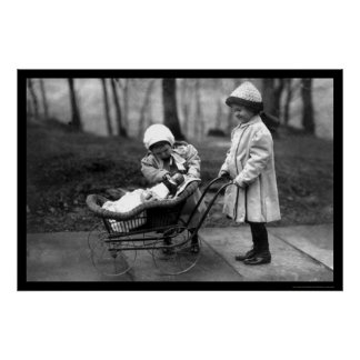 Girls Playing with a Doll in a Carriage 1912 Poster