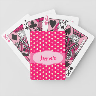 Girl's polka dot pink named playing cards