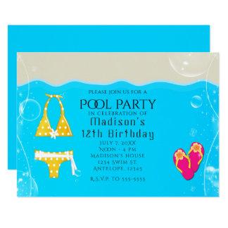 Girls Pool Party Bikini Birthday Swim Invitations
