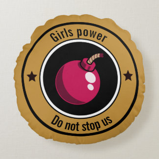 Girls power round pillow