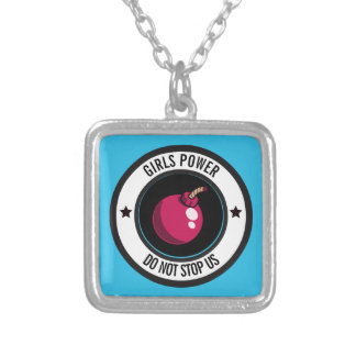Girls power silver plated necklace