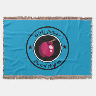 Girls power throw blanket